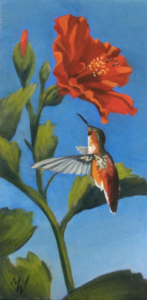 """Hummer and Hibiscus"" original fine art by Michelle Wolfe"