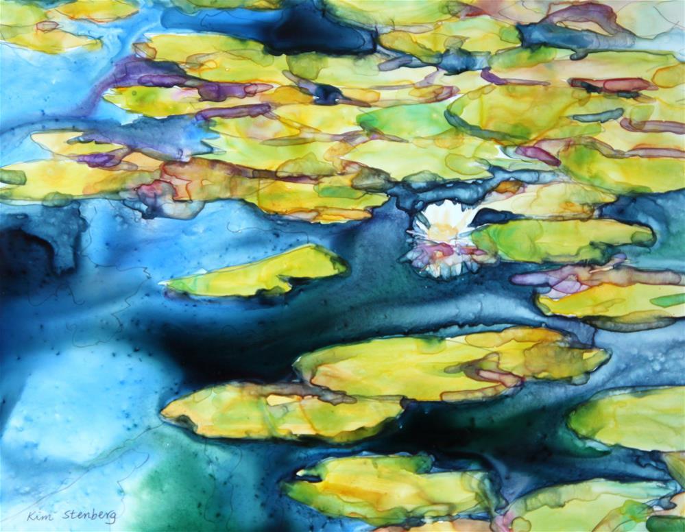 """""""Indigo Blue Waterlily Pond"""" original fine art by Kim Stenberg"""