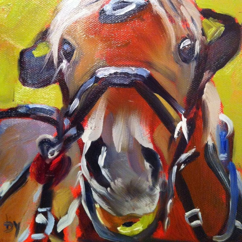 """Yum, oil on canvas panel, 6x6"" original fine art by Darlene Young"