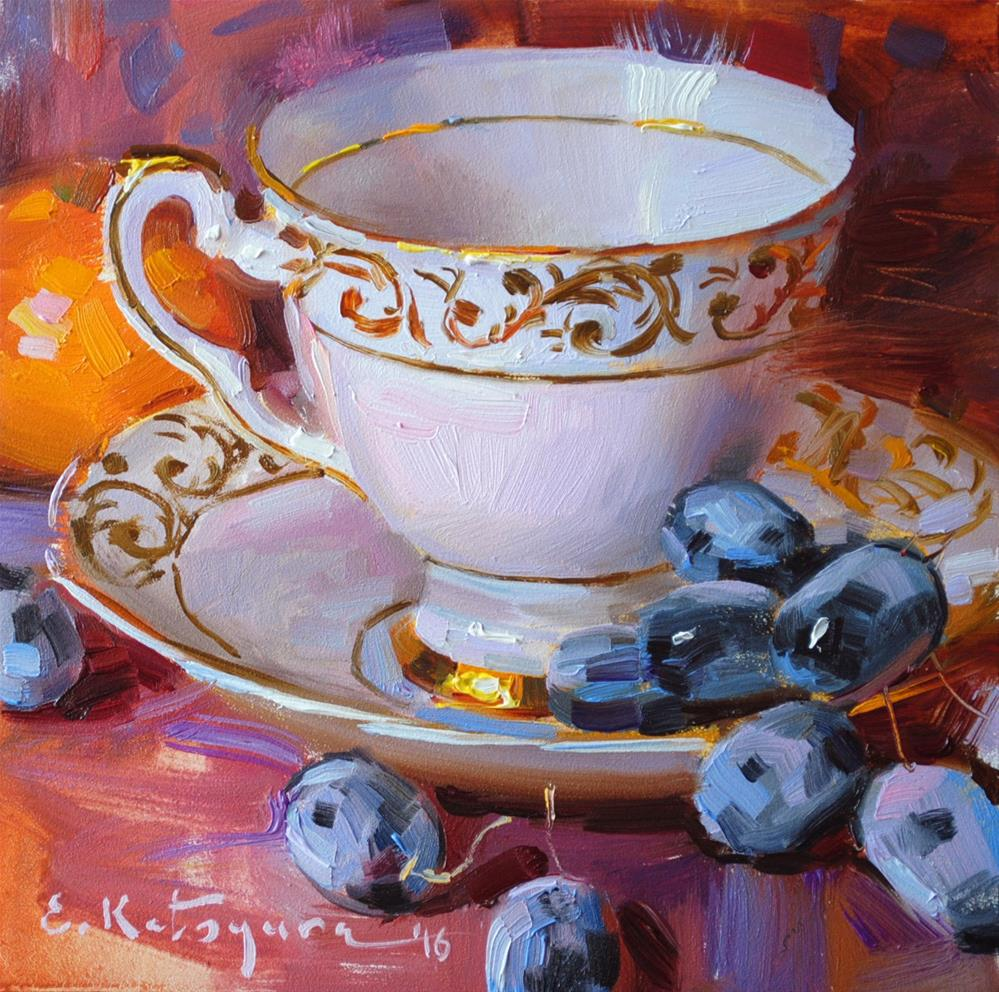"""Pink Cup and Black Grapes"" original fine art by Elena Katsyura"
