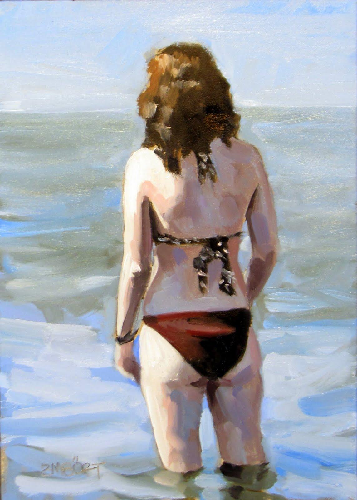 """""""ART 4 DIAPERS (DAILY DIAPER #181) Bikini Blue"""" original fine art by Brian Burt"""