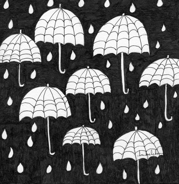 """Raindrops"" original fine art by Lou Belcher"