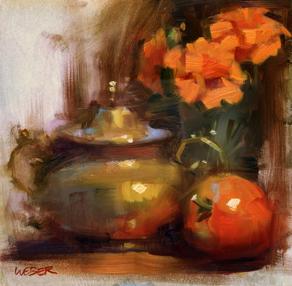 """Marigolds and tomato"" original fine art by Kathy Weber"