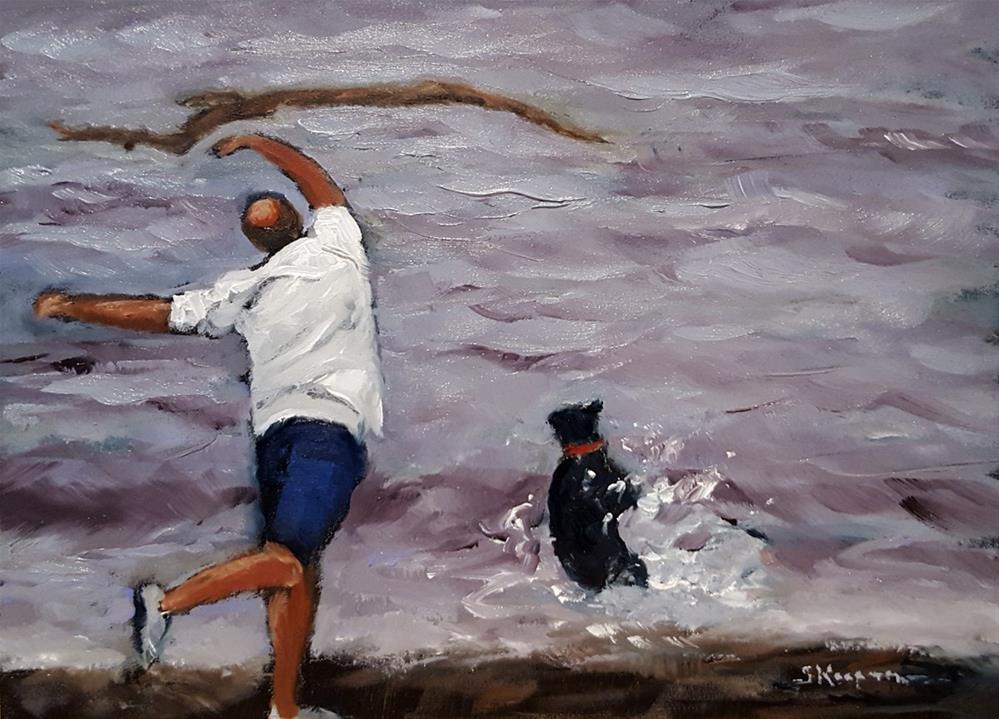 """""""Dog Toss Ballet Redux"""" original fine art by Shelley Koopmann"""
