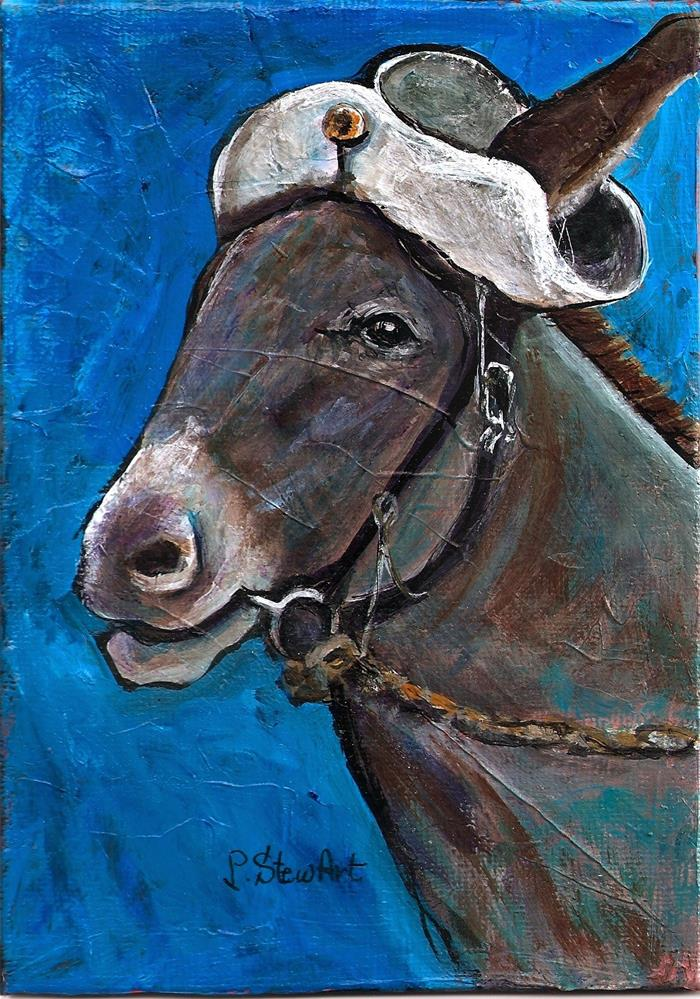 """5x7 Original Acrylic Donkey Mule Horse Jackass wearing Old Hat SFA Penny StewArt"" original fine art by Penny Lee StewArt"