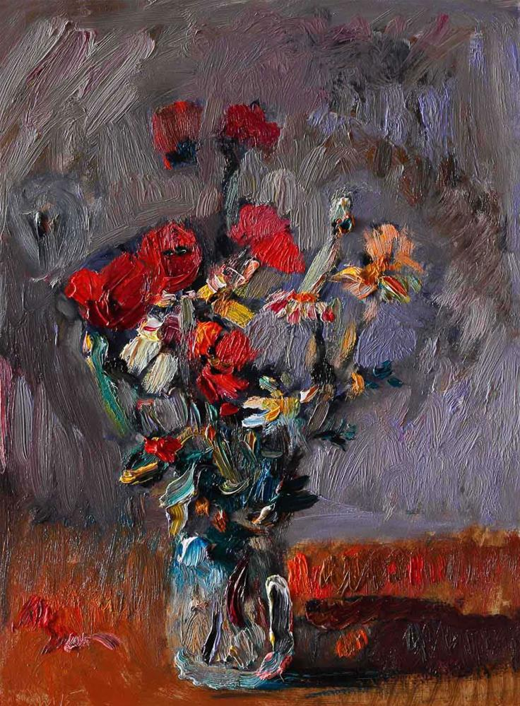 """Bouquet of Red Poppies and White Daisies in a Vase"" original fine art by Anna  Fine Art"