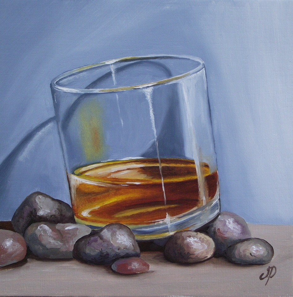 """Scotch on the rocks & little rose"" original fine art by Jane Palmer"