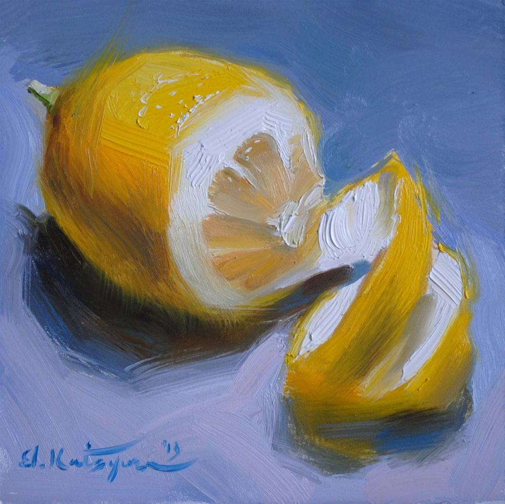 """Half-Peeled Lemon"" original fine art by Elena Katsyura"