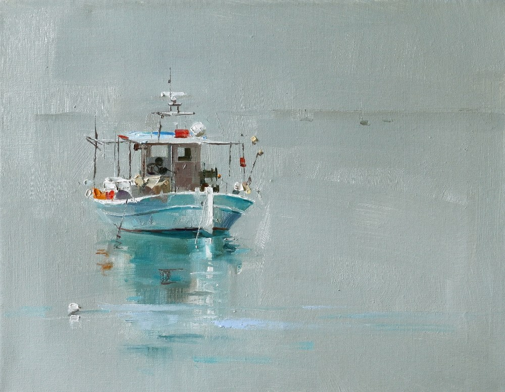 """""A Small Boat"" original fine art by Qiang Huang"