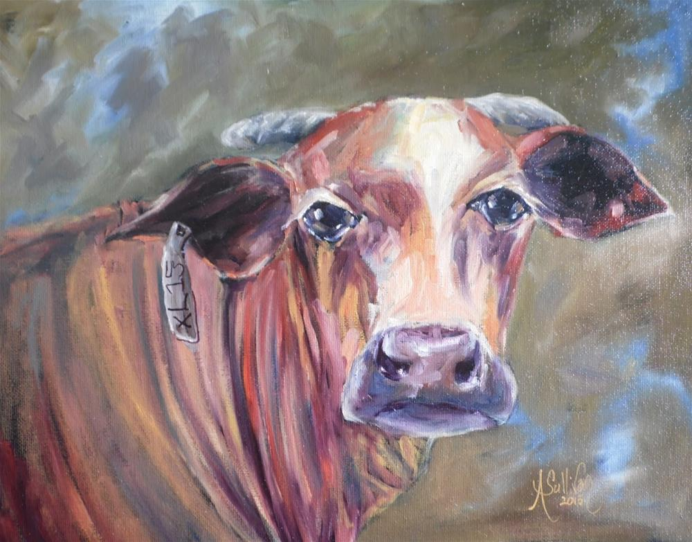 """I Am Listening cow painting by Alabama Artist Angela Sullivan"" original fine art by Angela Sullivan"