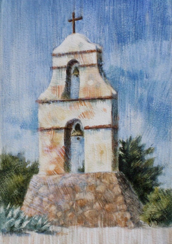 """The Assistencia Bell Tower"" original fine art by Ginger Pena"