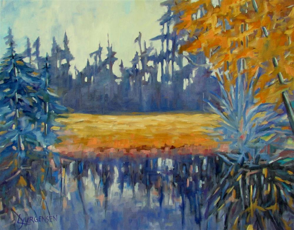 """24 x 30 inch oil Lake View"" original fine art by Linda Yurgensen"
