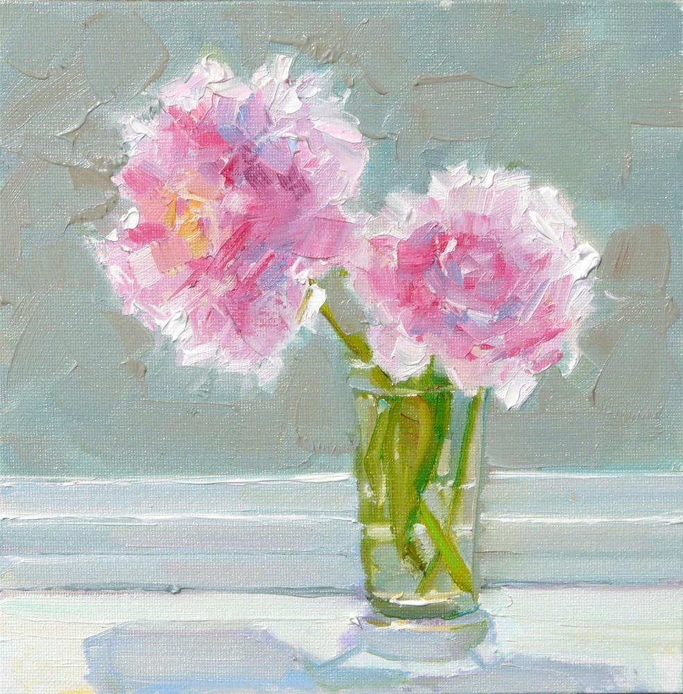 """Window Sill Peonies,still life,oil on canvas,8x8,price$250"" original fine art by Joy Olney"
