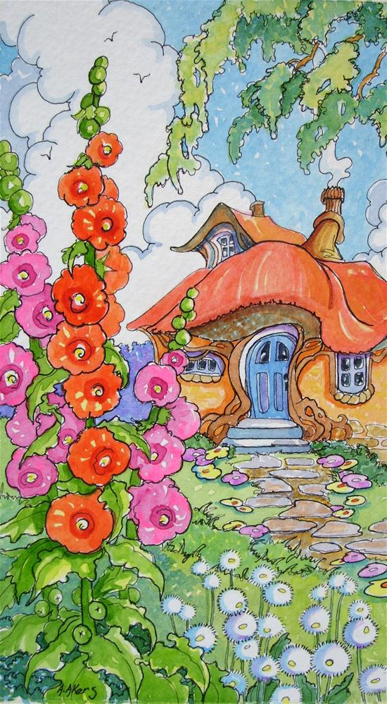 """A Garden House Storybook Cottage Series"" original fine art by Alida Akers"