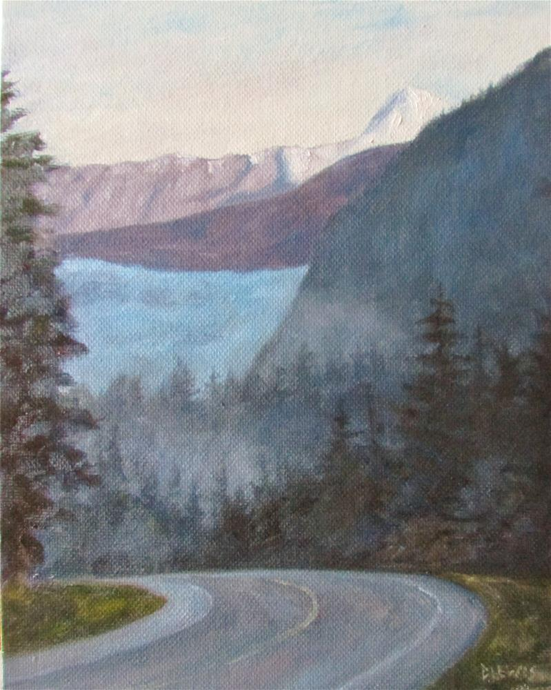 """Foggy Morning Glacier"" original fine art by Christine Lewis"