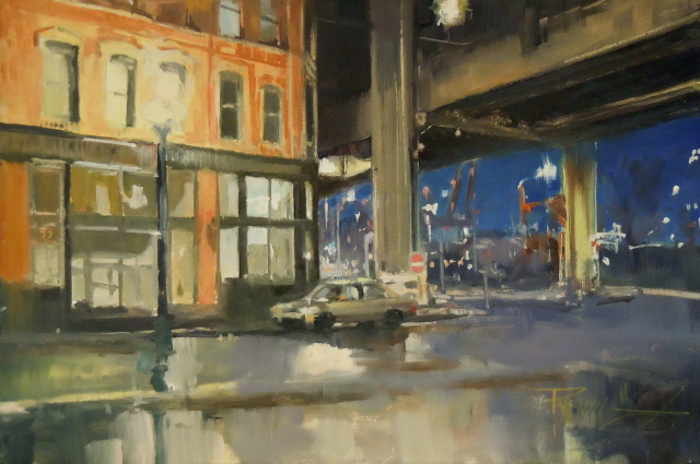"""Under the Viaduct City oil painting by Robin Weiss, Seattle"" original fine art by Robin Weiss"