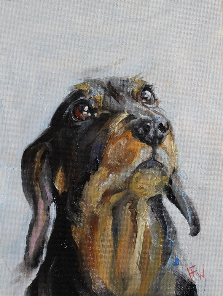 """Wire-haired Dachshund"" original fine art by H.F. Wallen"