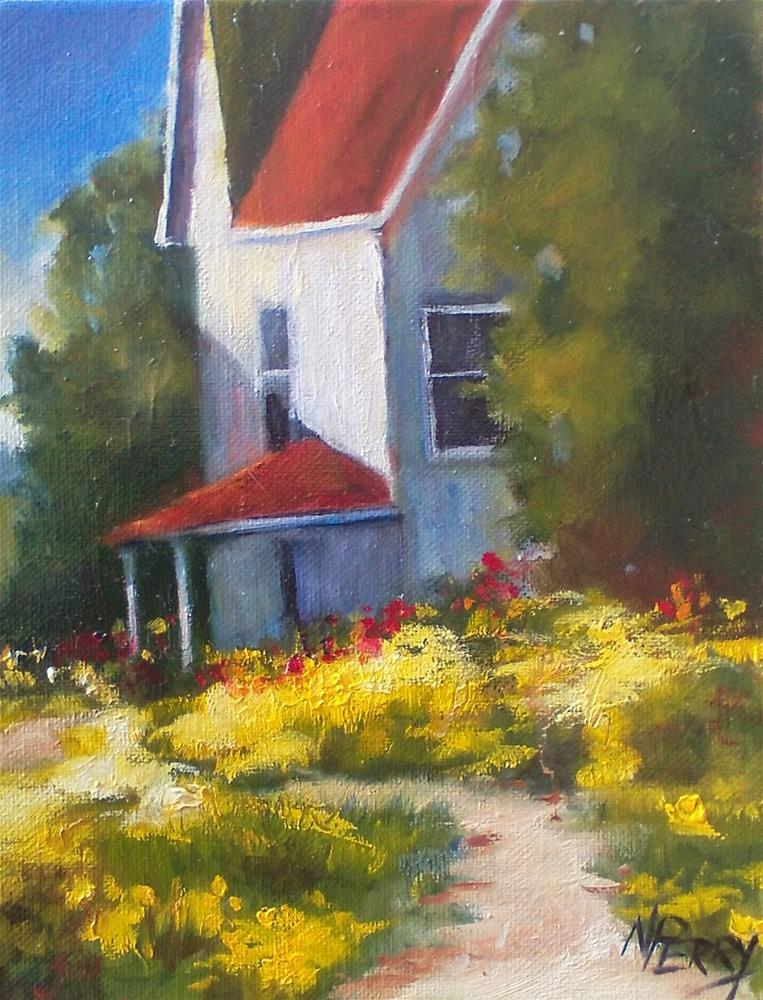 """Spring Blooms with White House "" original fine art by Nan Perry"