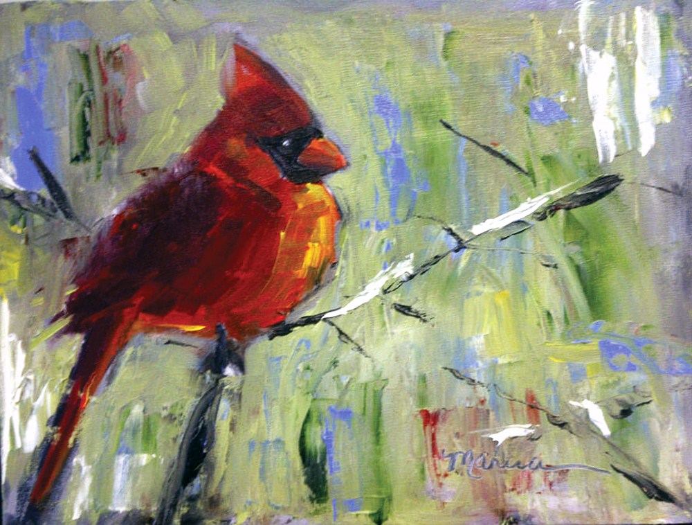 """Red Bird, Red Bird"" original fine art by Marcia Hodges"