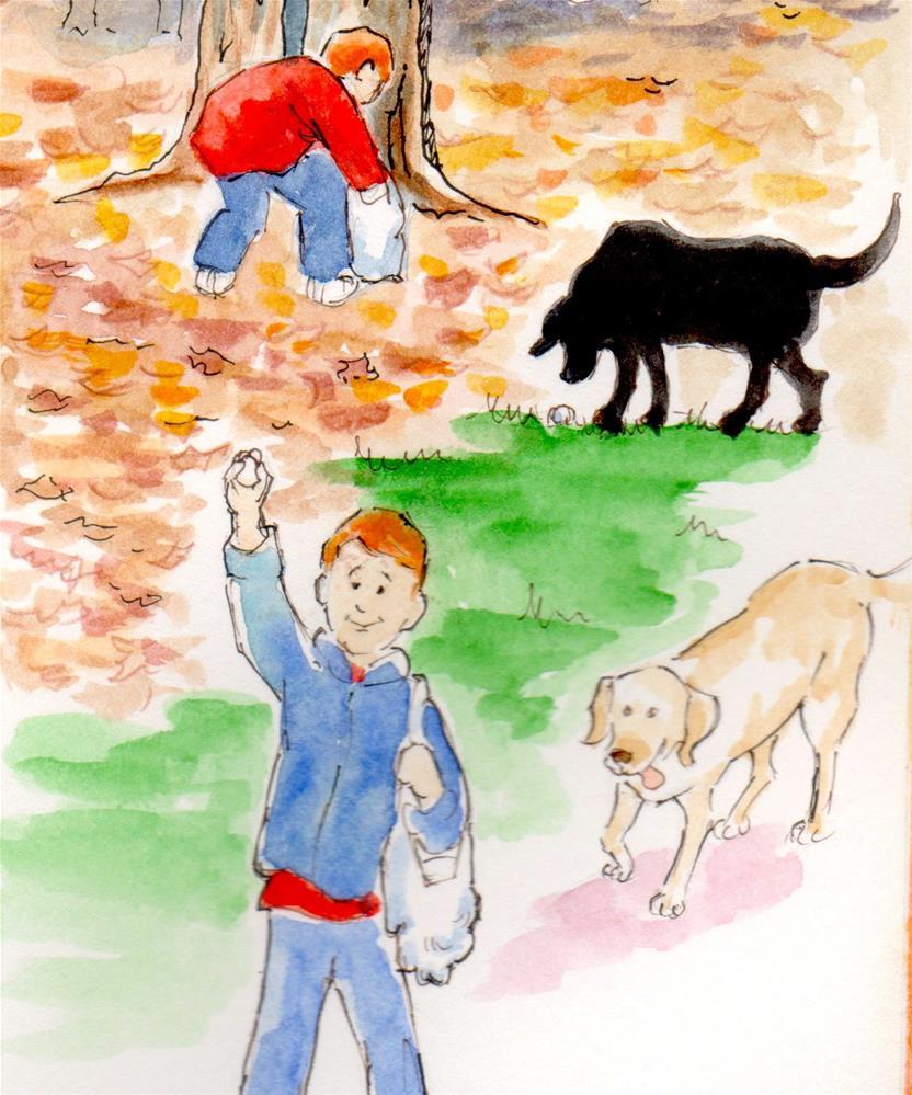 """""""Golf Ball Hunt, 11x14 Watercolor"""" original fine art by Carmen Beecher"""
