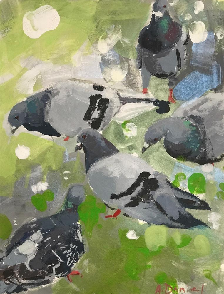 """Pigeons on Green"" original fine art by Andrew Daniel"