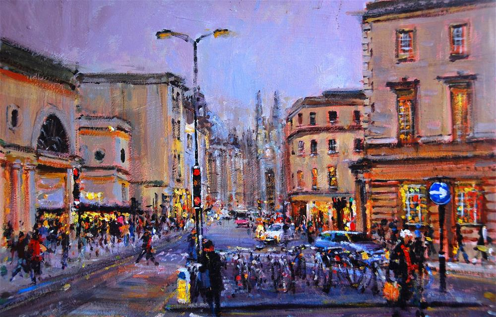 """Evening Light, City of Bath near the Podium"" original fine art by Adebanji Alade"
