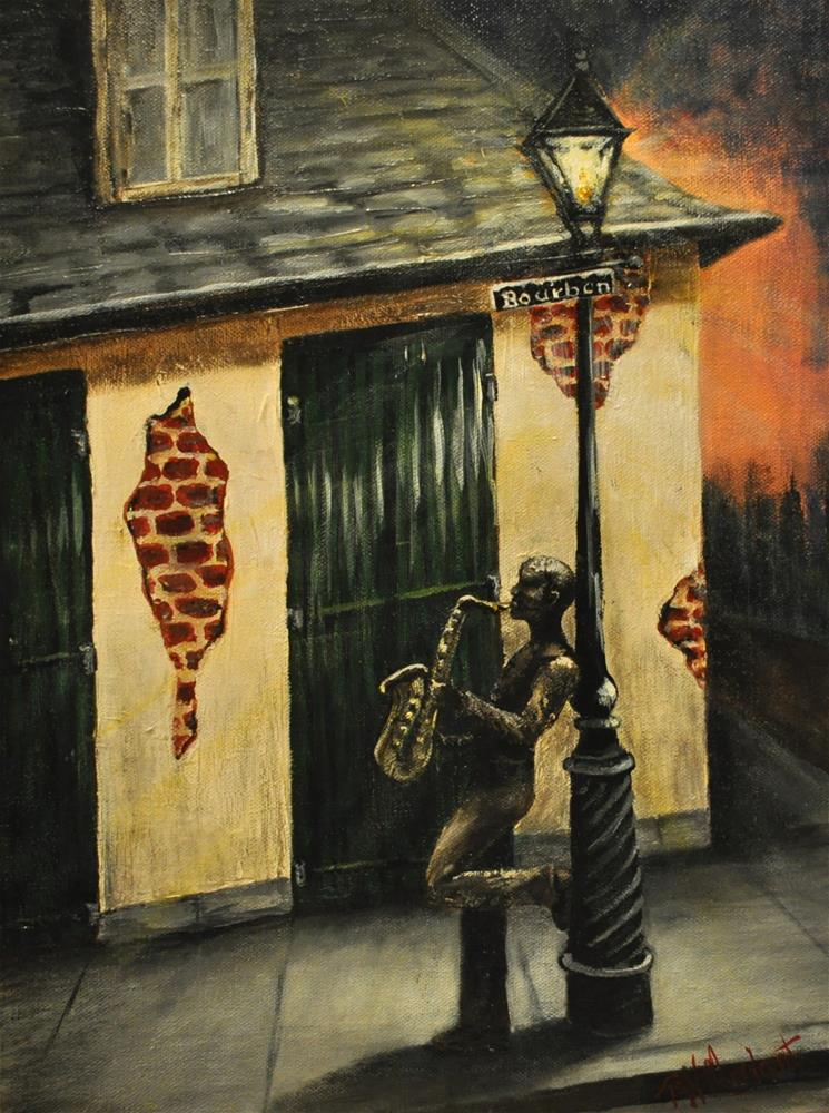 """French Quarter Blues"" original fine art by Peggy W Morvant"