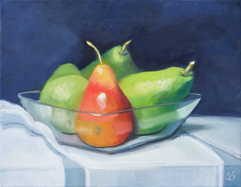 """Pair of Pears 11x14 in"" original fine art by Johnna Schelling"