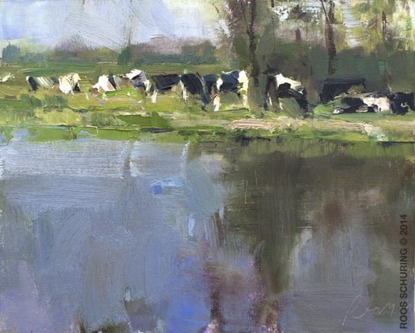 """Power of sunlight-Cows near a River"" original fine art by Roos Schuring"