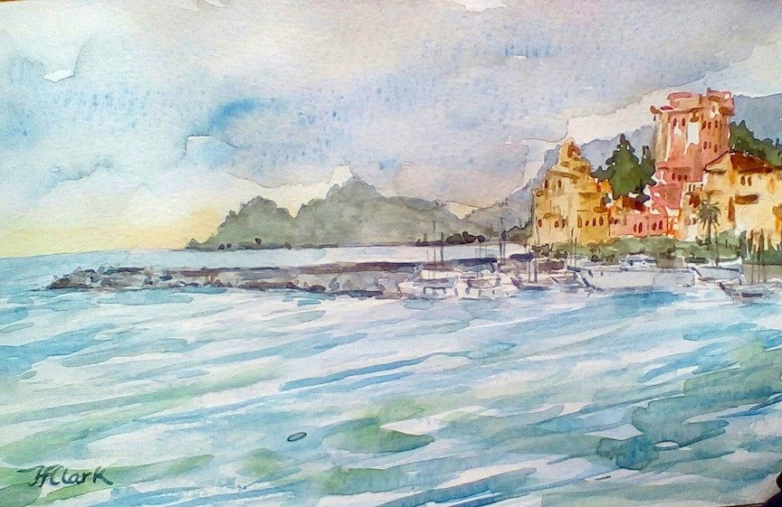 """Harbor at Rapallo, Italy"" original fine art by Judith Freeman Clark"