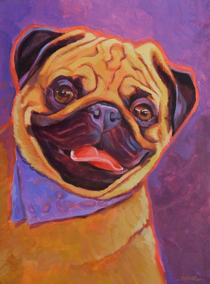 """Partyin' Pug"" original fine art by Shawn Shea"