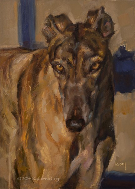 """""""Day 36 - Greyhound"""" original fine art by Kathleen Coy"""
