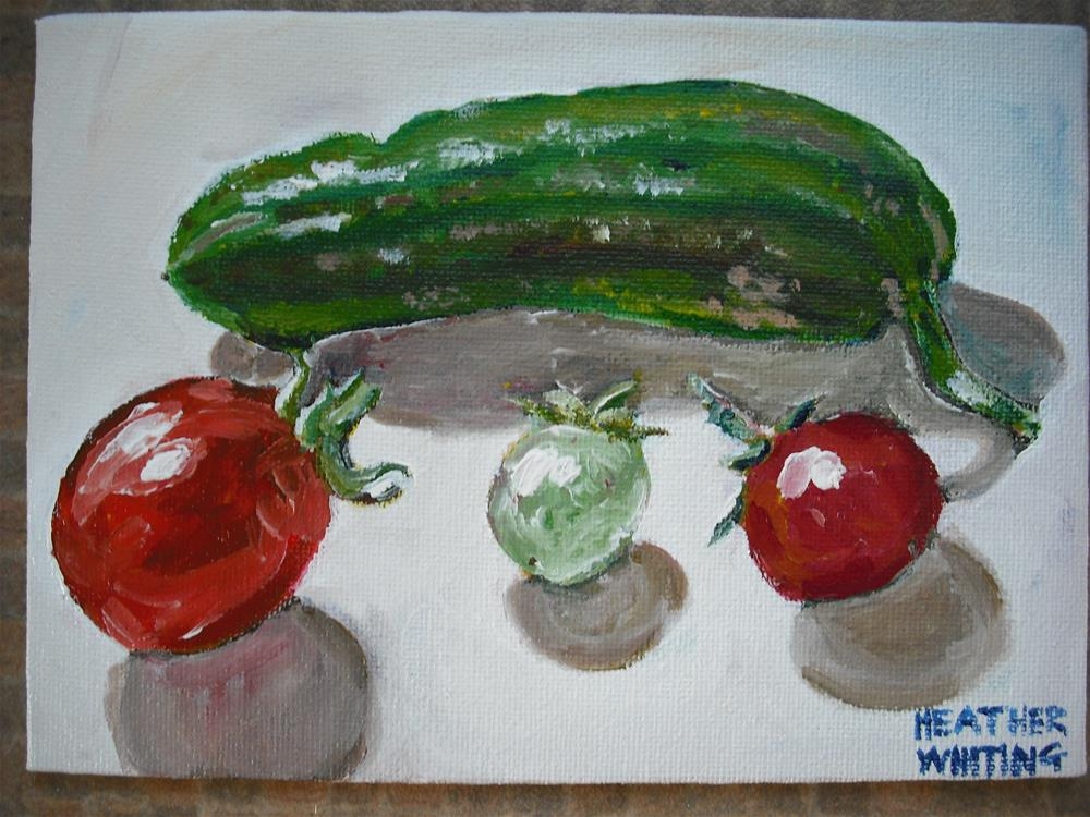 """Mini Cucumber and Cherry Tomatoes"" original fine art by Heather Whiting"
