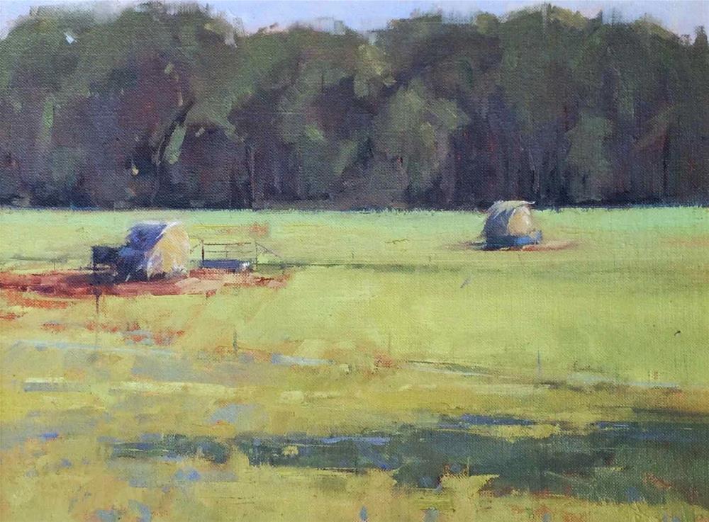 """""""Hay Bales"""" original fine art by Julie Davis"""