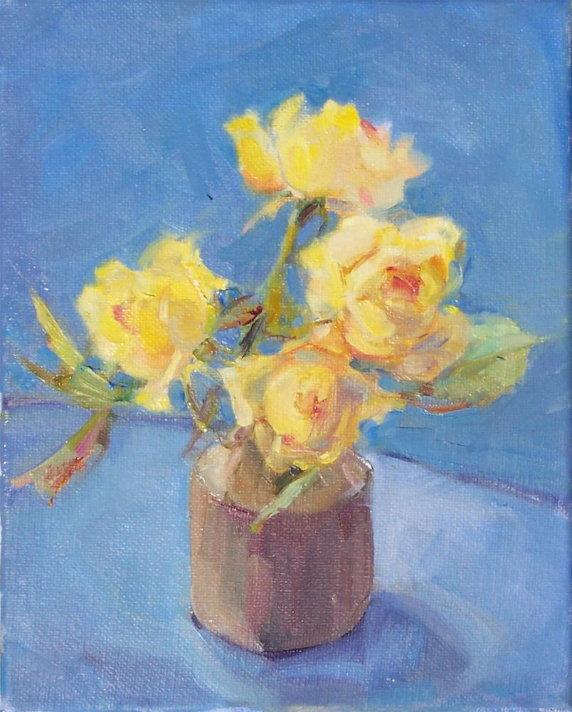 """Little Yellow Roses,still life,oil painting on canvas,10x8,price$250"" original fine art by Joy Olney"