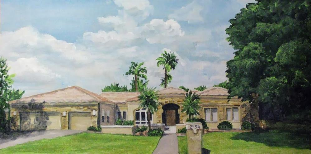 """House #2154 with Palms"" original fine art by Nan Johnson"
