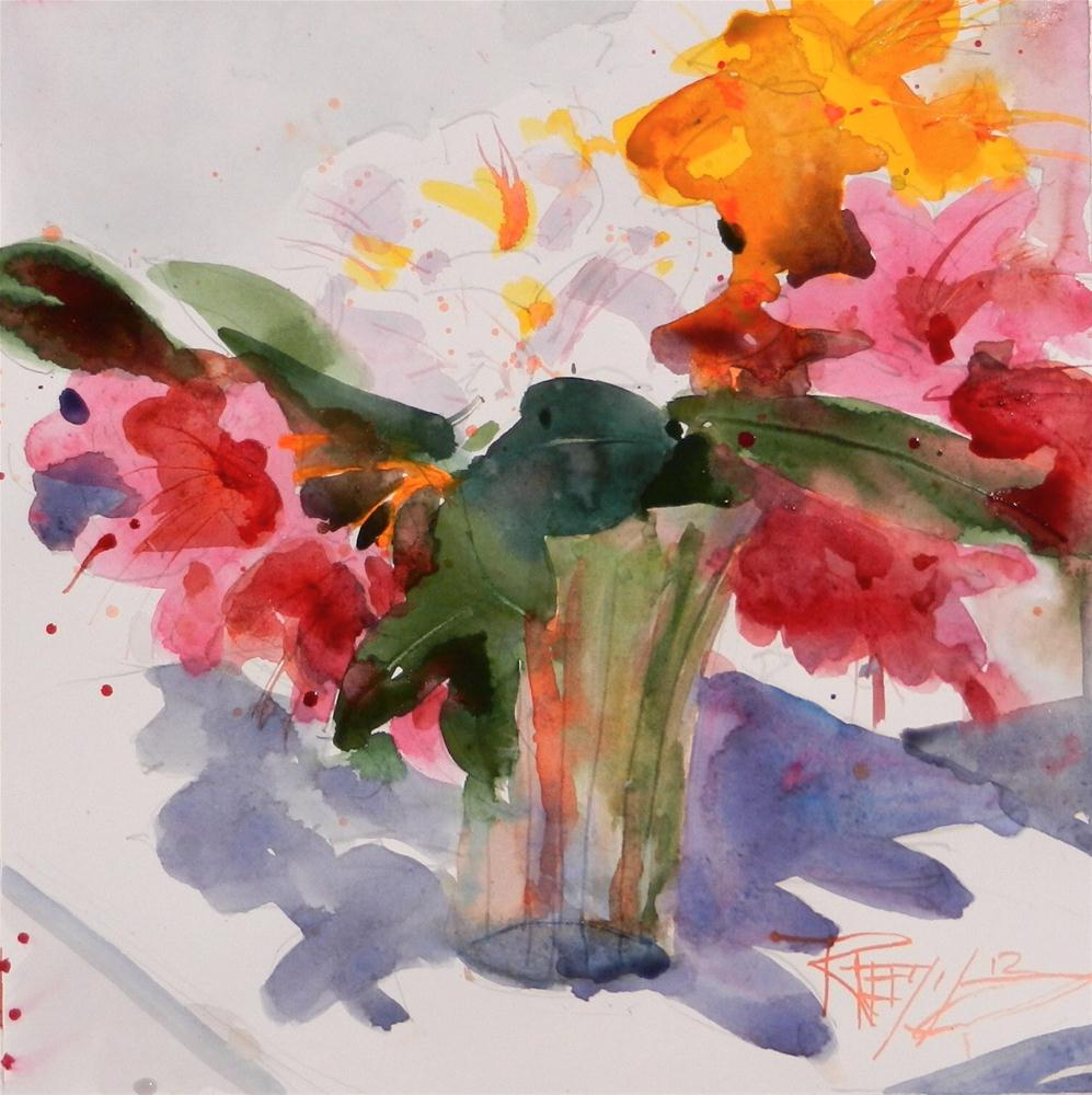 """Red Rhodies #4 plein air floral, watercolor painting by Robin Weiss"" original fine art by Robin Weiss"
