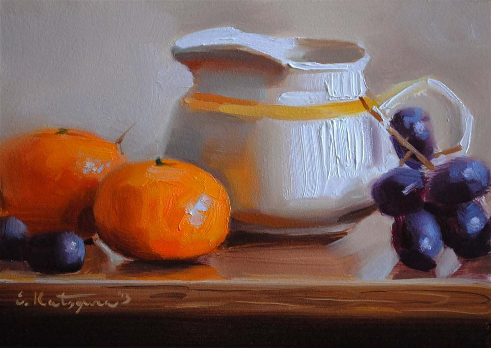 """Pitcher, Grapes, and Tangerines"" original fine art by Elena Katsyura"