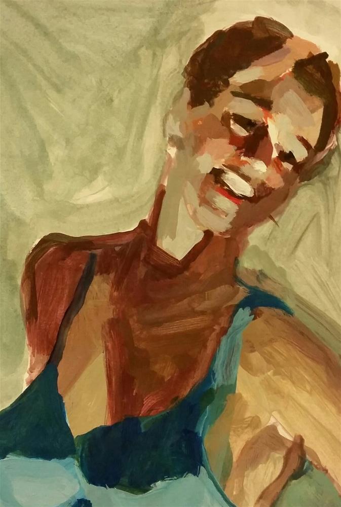 """Portrait with Blue Velvet"" original fine art by Liz Maynes"