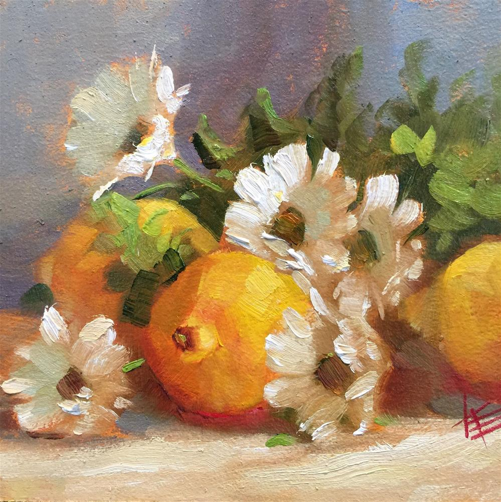 """Lemons and daisies"" original fine art by Krista Eaton"