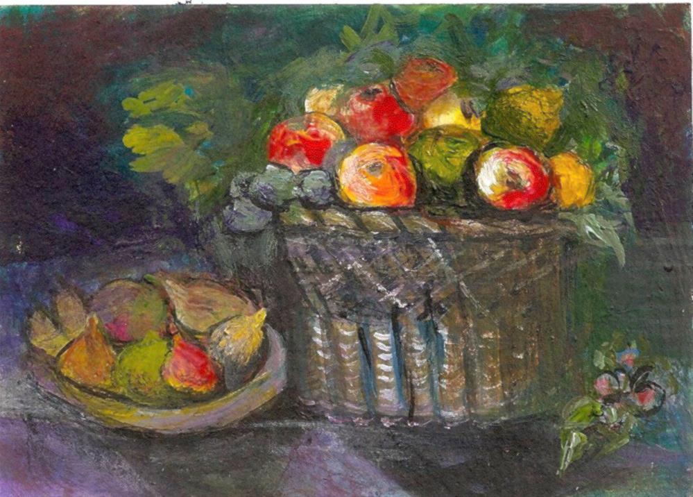 """""""ACEO Basket of Apples + figs Painting ala Juan van der Hamen Leon P. StewArt"""" original fine art by Penny Lee StewArt"""