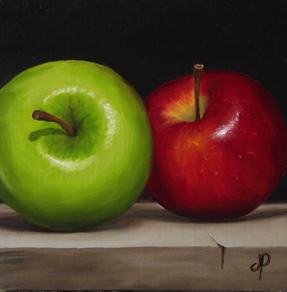 """Two Apples and Little lemon and lime"" original fine art by Jane Palmer"