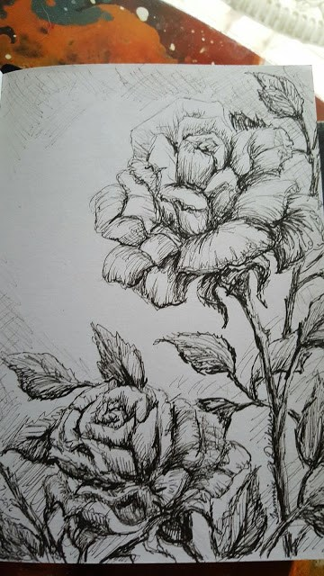 """Roses in Ink"" original fine art by Tammie Dickerson"