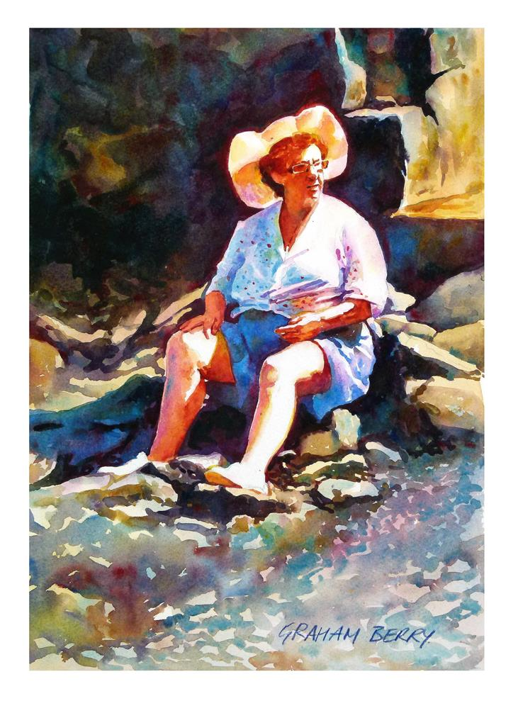 """Seaside lady"" original fine art by Graham Berry"