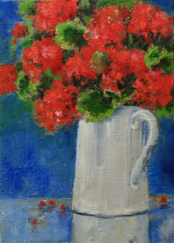 """Geraniums in a Tin Pitcher"" original fine art by Jean Nelson"
