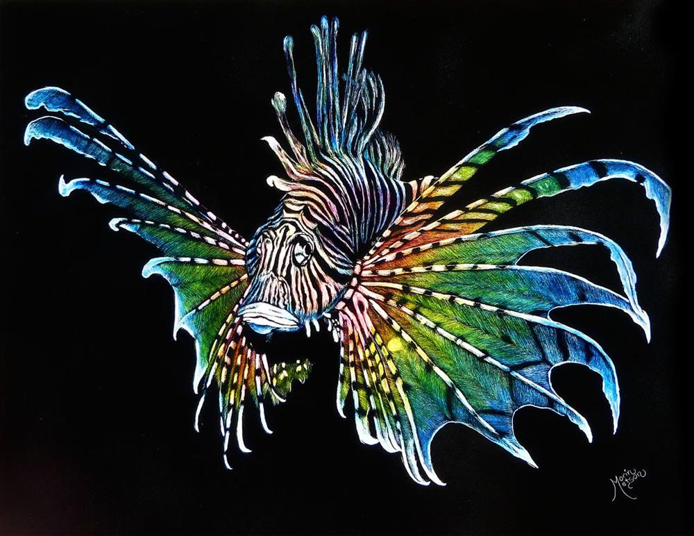 """Rainbow Lionfish"" original fine art by Monique Morin Matson"