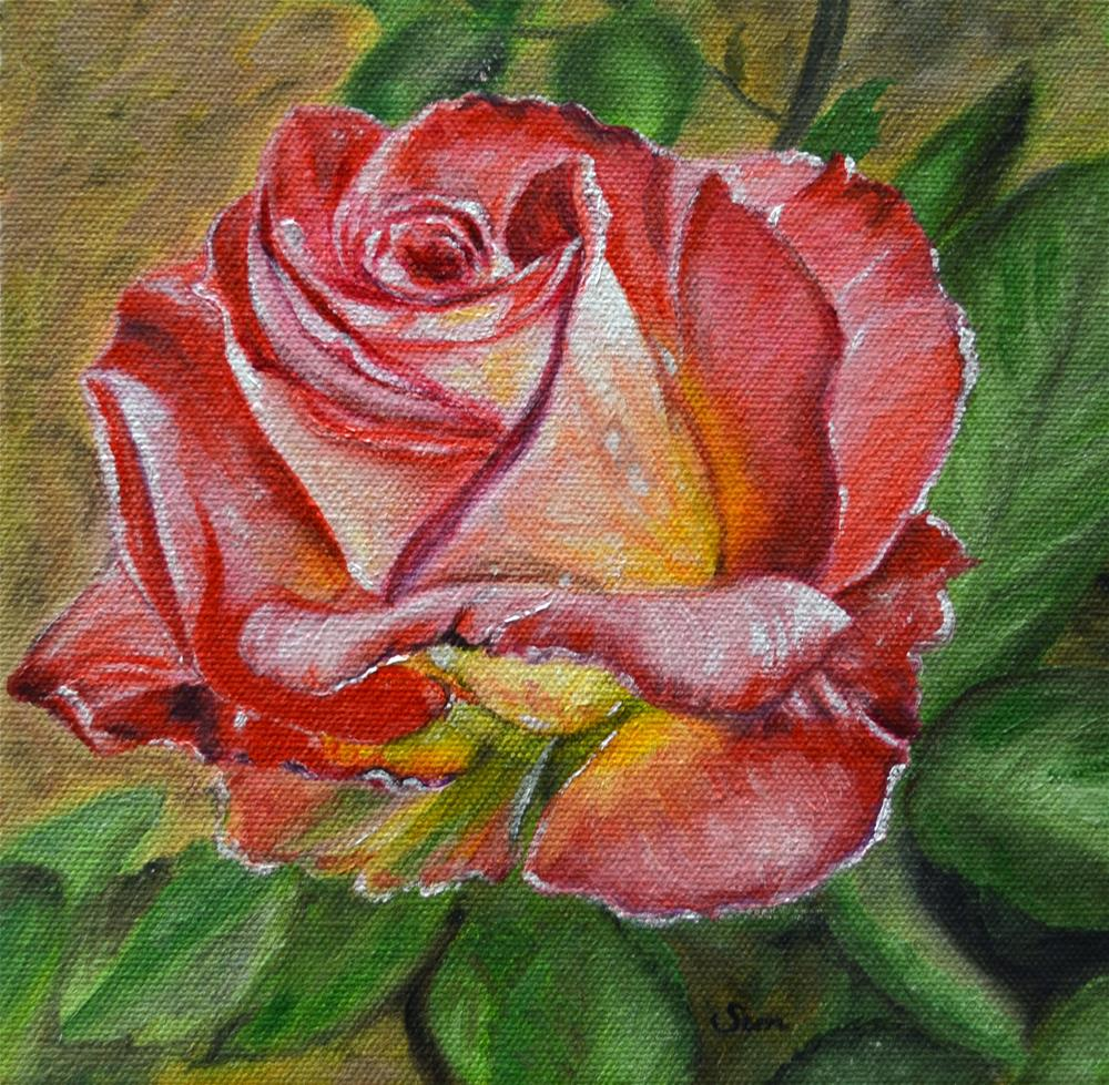 """""""Red Rose painting"""" original fine art by Sun Sohovich"""
