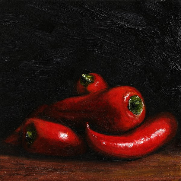 """Tangled red chilli peppers"" original fine art by Peter J Sandford"