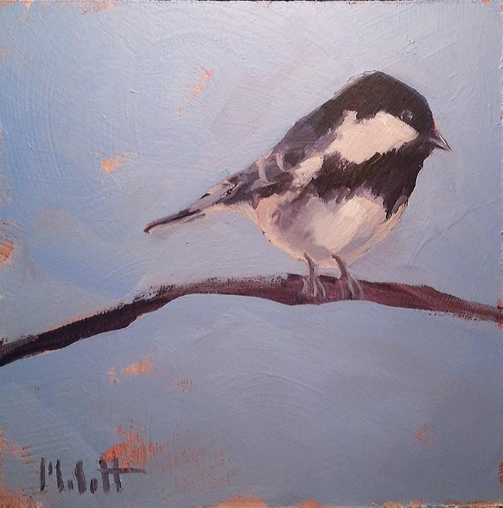 """Chickadee Bird Painting Feathered Friend Original"" original fine art by Heidi Malott"