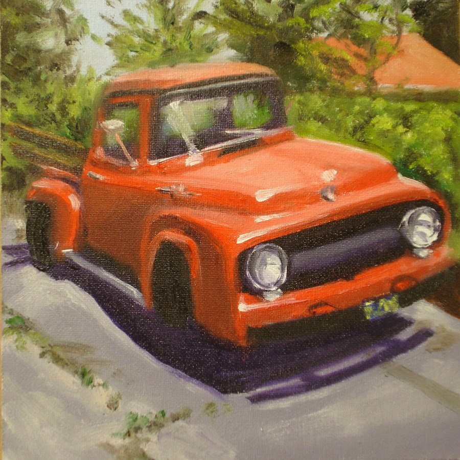 """The Red Truck"" original fine art by Linda Lowery"